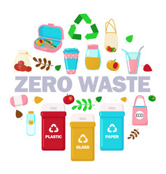 zero waste set in circle flat isolated vector image