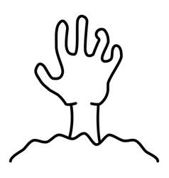 Zombie hand thin line icon undead vector