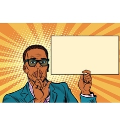 African businessman asking for silence Billboard vector image vector image