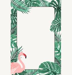 border frame green tropical leaves pink flamingo vector image vector image