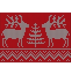 knitted pattern with Deers and Christmas Tree vector image