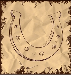 Lucky horseshoe isolated on vintage background vector image