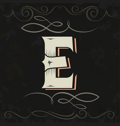 Retro style western letter design letter e vector