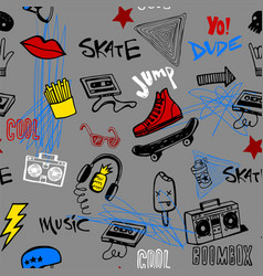 seamless pattern with hipsters teens doodles vector image vector image