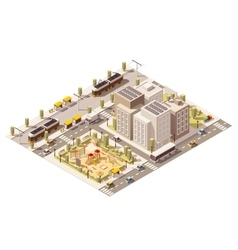 isometric low poly commuter town vector image