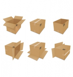 set of cardboard boxes vector image vector image