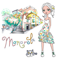 Cute fashion girl in manarola italia vector