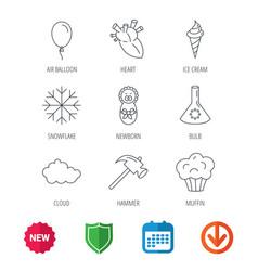 newborn heart and lab bulb icons ice cream vector image