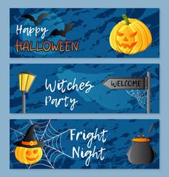 set of three horizontal banners halloween vector image
