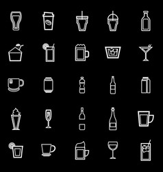 beverage line icons on black background vector image