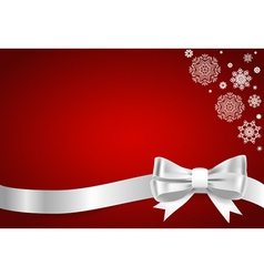 Christmas background Shiny ribbon on red vector image vector image
