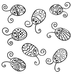 Contour ladybirds vector image vector image