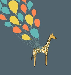 Cute hand drawn giraffe flying on the balloons - vector image