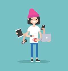 multitasking millennial concept young girl using vector image vector image