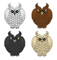 set of color images with owls vector image vector image