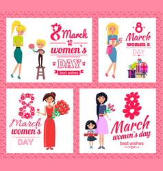 8 march womens day best wishes vector