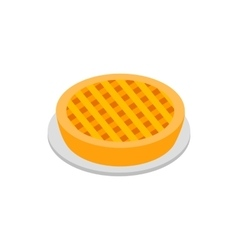 Apple pie isometric 3d icon vector