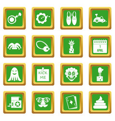 April fools day icons set green vector