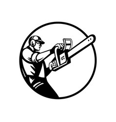 Arborist or tree surgeon holding chainsaw side vector