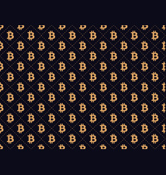 art deco seamless pattern with sign bitcoin gold vector image