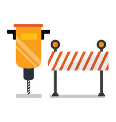 Auger and road stop sign construction and fix vector
