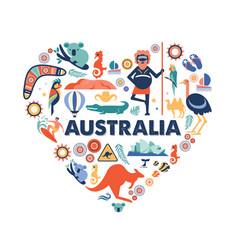australia heart with many icons vector image