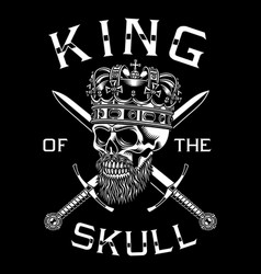 bearded skull king with crossed swords vector image