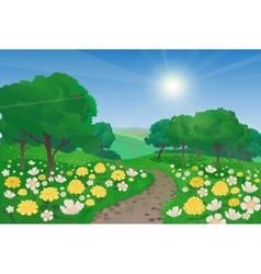 Beautiful Landscape With Flowers vector image