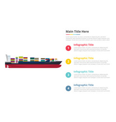 big ship container infographics template with 4 vector image