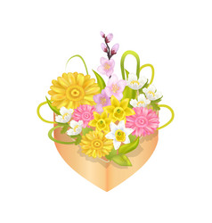 bouquet spring flowers in heart shape decor box vector image
