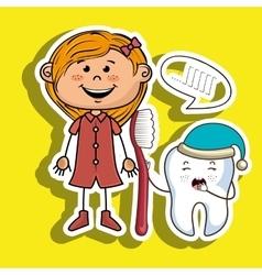 Cartoon girl holding toothbrush and a cartoon vector