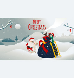 cartoon santa claus presents boxes bag vector image