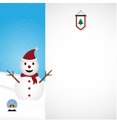 christmas snowman white background vector image