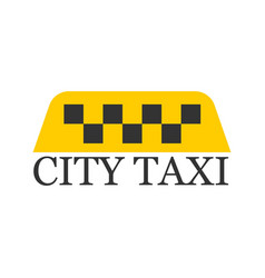 city taxi logotype with checker in yellow and vector image