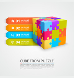 Colored puzzle cube info vector