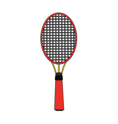 Colorful image cartoon tennis racquet with handle vector