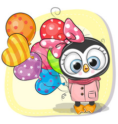 Cute cartoon penguin girl with balloon vector