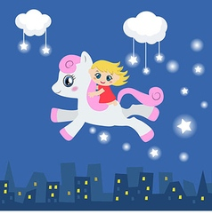 Cute little girl riding on a pony vector