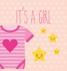 Cute pink bodysuit and stars its a girl card vector