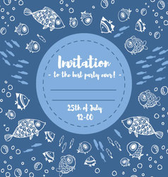 Cute summer fishes invitation vector