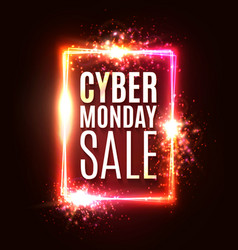 cyber monday sale neon sign rectangle background vector image