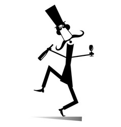 Dancing long mustache man with bottle of wine vector