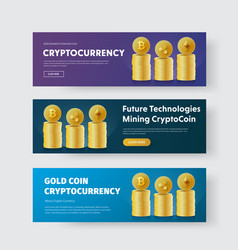design of banners with piles of gold coins vector image