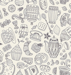 Dessert seamless pattern vector