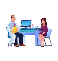 doctor consults young woman therapist and patient vector image