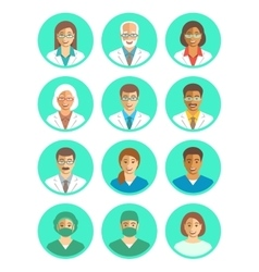 Doctors and medical workers flat simple avatars vector