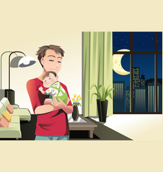 Father and son at home vector