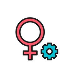 female gender symbol flat color line icon vector image