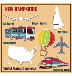 Flat map of New Hampshire vector