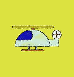 Flat shading style icon helicopter toy flying vector